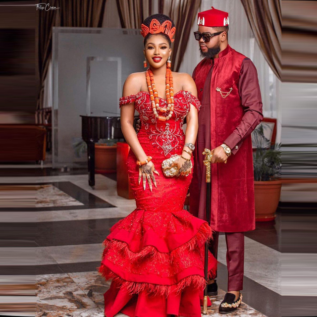 Luxury Red Feathers Aso Ebi Evening Dresses Cap Sleeves Sweetheart Mermaid Plus Size Beaded Formal Party Prom Gowns 2021 1