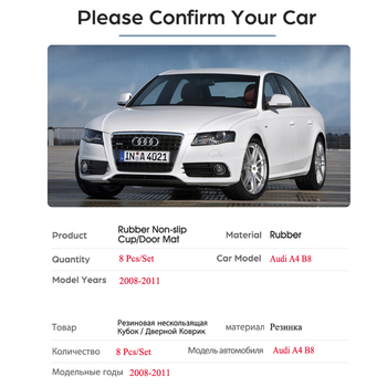 สำหรับ Audi A4 B8 2008 2009 2010 2011 A4 8K RS4 S4 S line ฿ Anti-SLIP ยางประตูถ้วย MAT Coaster อุปกรณ์เสริมรถสติกเกอร์