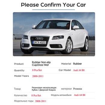 Per Audi A4 B8 2008 2009 2010 2011 A4 8K RS4 S4 S linea RS Anti-Slittamento In Gomma fessura del cancello Tazza Zerbino Coaster Accessori Adesivi Per Auto