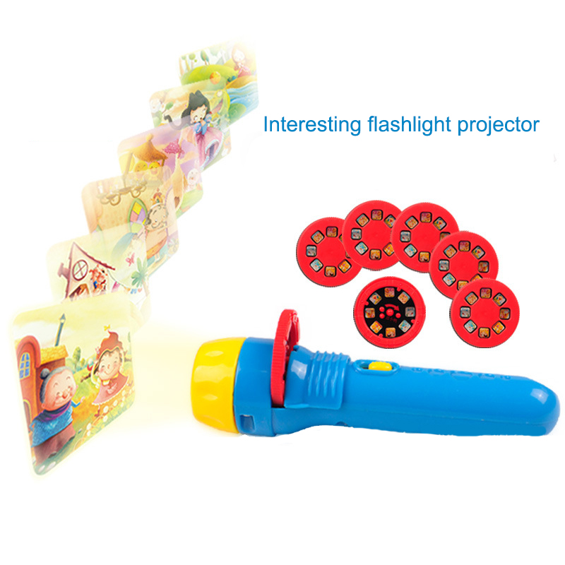 Flashlight Projector Toys Cartoon Figure Projection Film Toys Baby Sleeping Machine Every Picture Tells A Story Sleeping Light