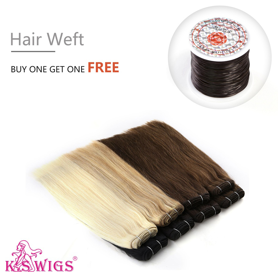 K.S WIGS 110g/pc Straight Remy Hair Weave Bundles Double Drawn Natural Human Hair Weft 12'' 14'' 16