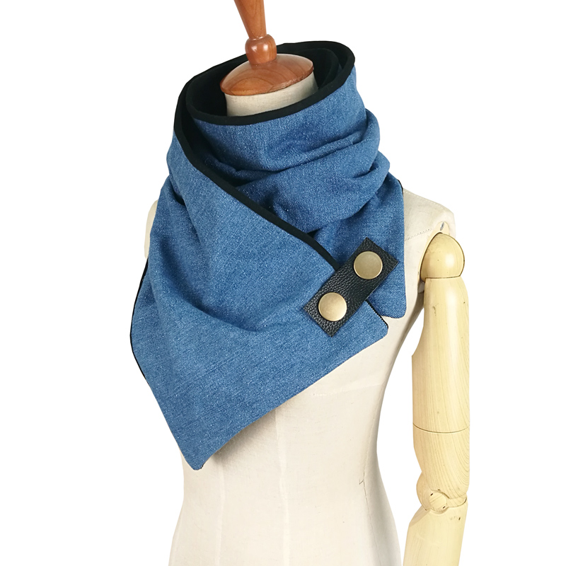 Newest Women Men Unisex Scarf 100% Cotton Denim Shawls Winter Ring Fashion Poncho Loop Button Scarves Tube Scarf Foulard Femme