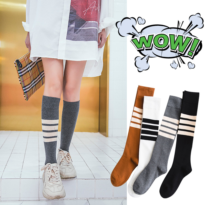 New Fashion Woman Fun Striped Knee High Woman Socks Korean Female Asymmetric Street Style Cute Girl Long Socks