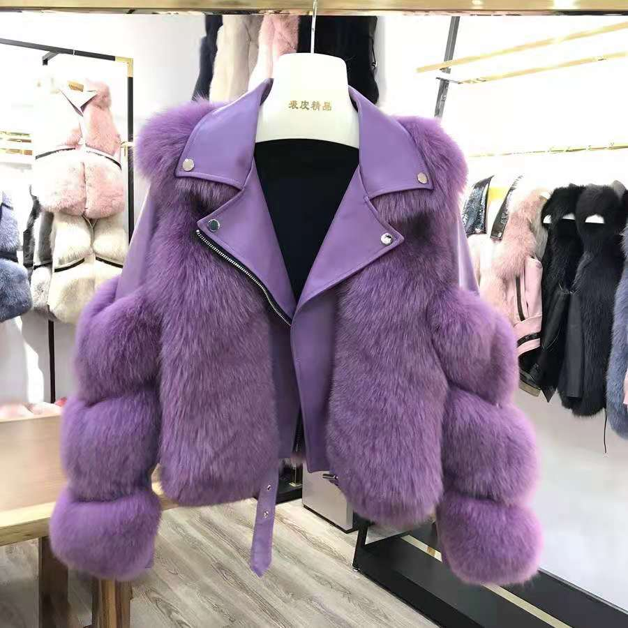 Hca72af1b40584af6b4027a581dc45be7L Women Faux Fur Coat with Fox Fur Winter Fashion 2021 New Motocycle Style Luxury Fox Fur Leather Jackets Woman Trendy Overcoats