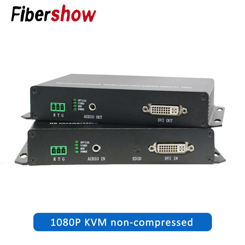 DVI To Fiber Optical Transmitter And Receiver USB Mouse And Keyboard Extender Single Mode 1080P KVM Non-compressed