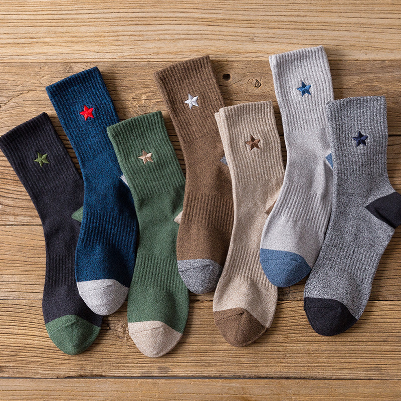Solid Colors Stripe Five Pointed Star Embroidery Socks Autumn Winter Sporting Casual Men Cotton Sock Japanese Fashion Harajuku