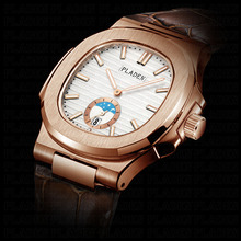 PLADEN único masculino luxo grande marca relógio cronógrafo fase da lua masculino relógio de ouro nadar genebra relógios zegarek meski # pl1009