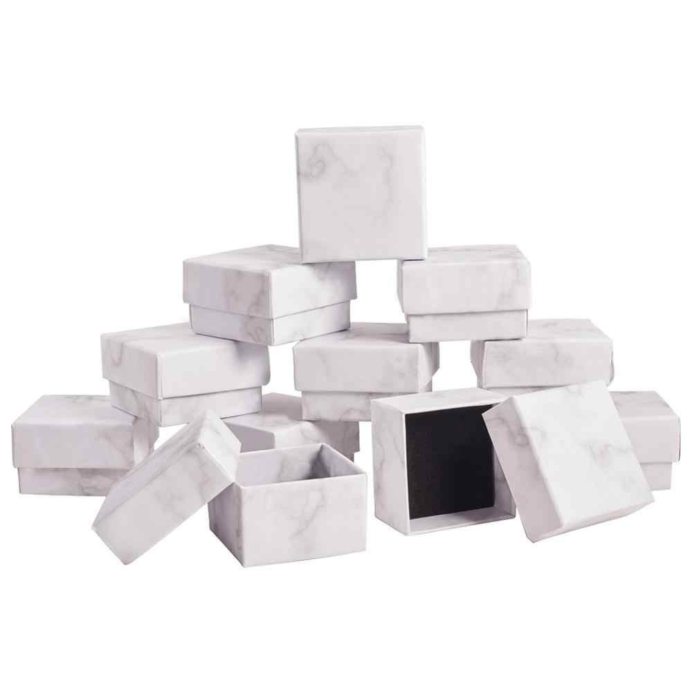 Caja de joyería de mármol, collar, pulsera, anillos, caja de presentación de cartón, regalos, joyería, organizador de almacenamiento colgante, rectángulo/cuadrado