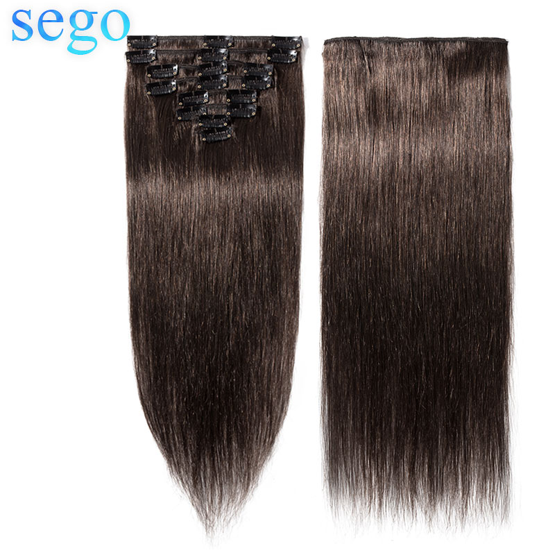 """SEGO 8""""-24"""" Straight 8Pcs/Set Clip In Human Hair Extensions Non-Remy Natural Hair Dark Brown Color Clip Ins Brazilian Hair"""