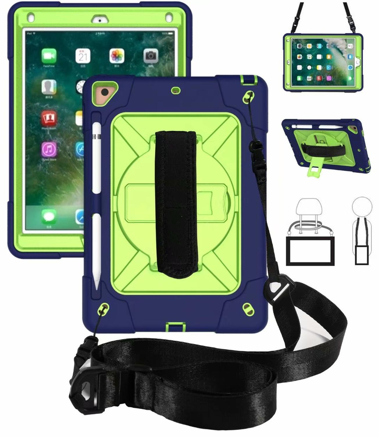 Case For IPad Air2 9.7 Kids Armor Shockproof Heavy Duty Silicone Hard Case + Hand Strap For Apple IPad Air 2 Case 6 Cover Stand