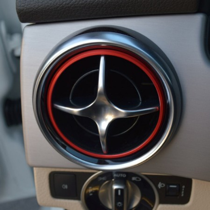 Car AC vent trim ring sticker for <font><b>Mercedes</b></font> <font><b>benz</b></font> <font><b>SLK</b></font> SLC R172 <font><b>SLK200</b></font> SLK250 SLK350 GLK X205 air condition outlet decorative cover image