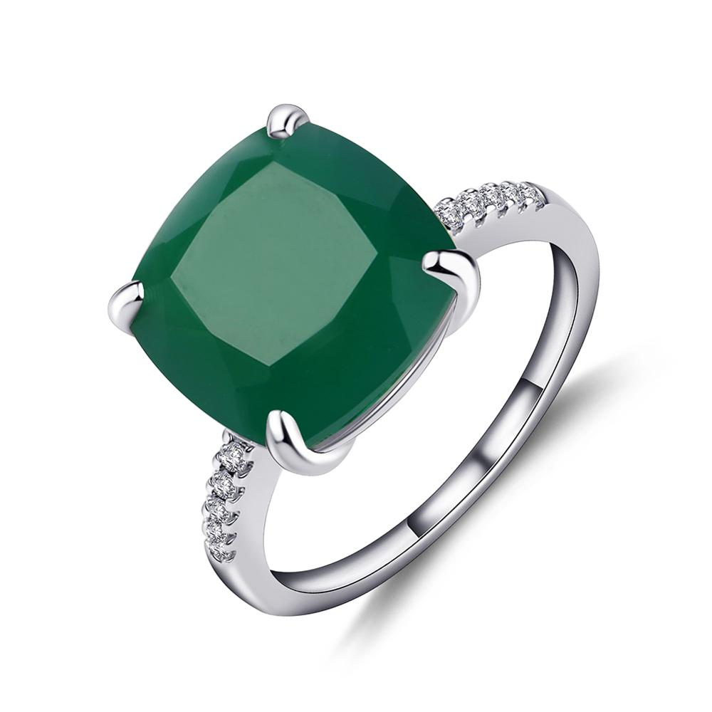 Gem's Ballet 9.66Ct Natural Green Agate Gemstone Cocktail Ring For Women  925 Sterling Silver Wedding Ring Fine Jewelry
