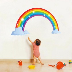 Cartoon rainbow cloud Wall Sticker Creative kids room bedroom decoration Mural Art Decals home decor wallpaper nursery stickers