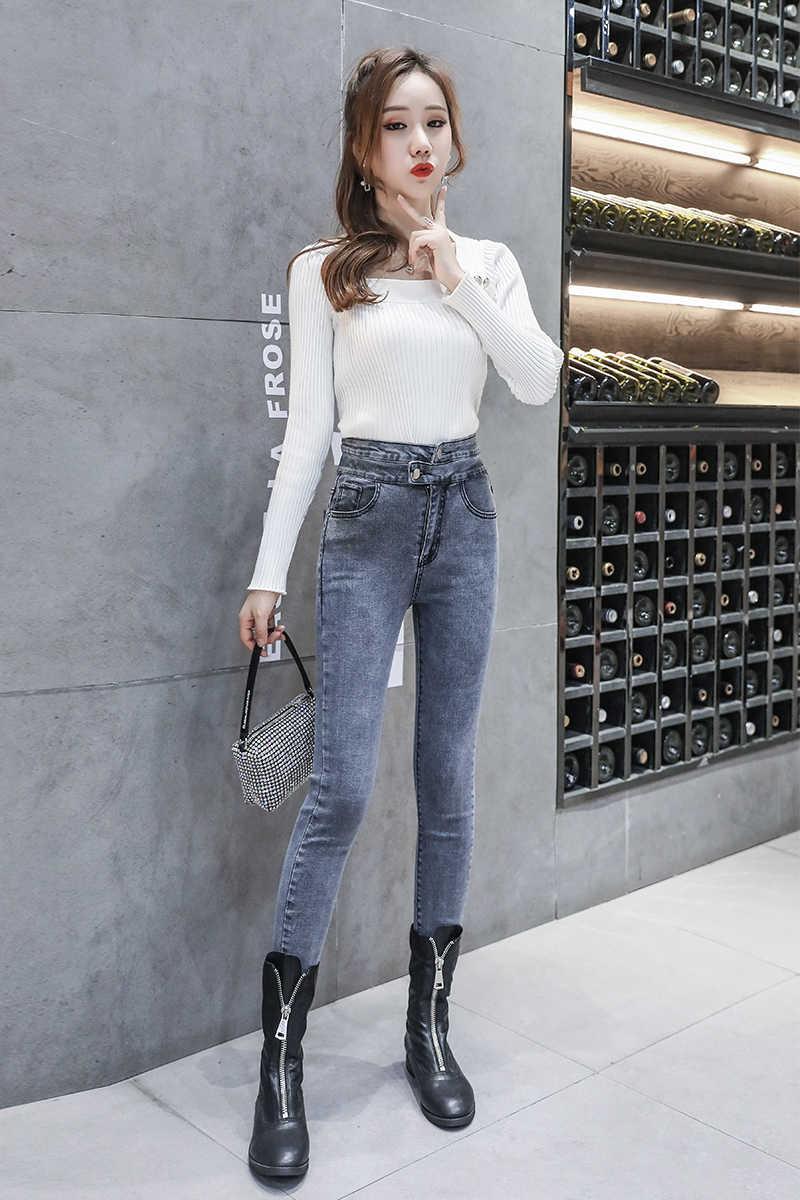 ライトブルースキニージーンズ女性 2020 ハイウエストショースリム韓国のファッションデニムペンシルパンツ女性グレージーンズ女性春