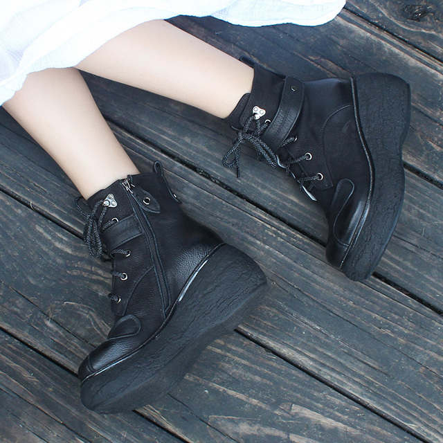 Genuine Leather High Heeled Women Wedges Ankle Boot Casual Female Shoes Lace-Up Black Booties Autumn and Winter 2019