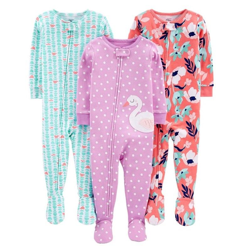 Warm summer cotton jumpsuit romper thread tight bodysuit pajamas boys and girls baby zipper bag feet robe 3