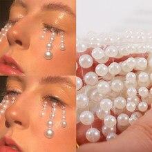 3d olhos rosto tatuagem temporária pérola branca pontos beleza diy arte do corpo decorações festival ferramentas de maquiagem unhas strass gemas