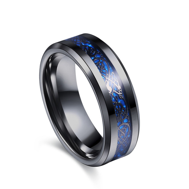 BestTungsten 6mm 8mm Black Tungsten Carbide Rings for Men Women Wedding Bands Celtic Dragon Purple Green Blue Red Carbon Fiber Inlay Beveled Edges Polished Comfort Fit