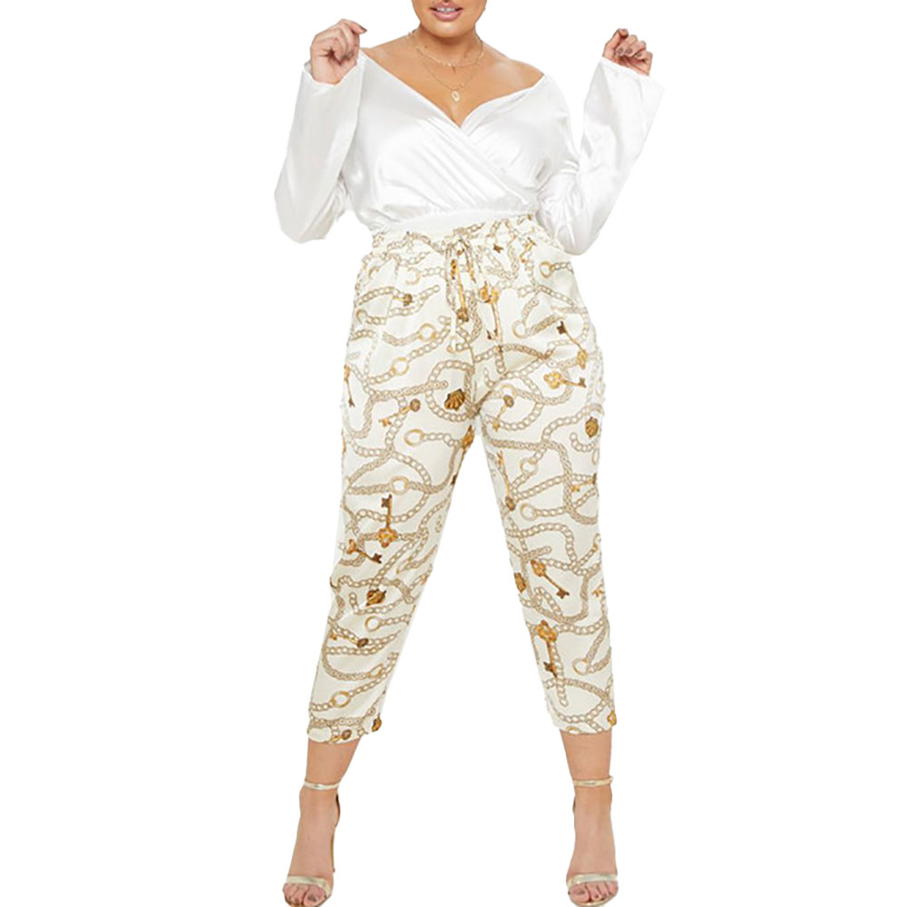 Sexy Womens Plus Size Chain Print Casual High Waist Full Length  Pants Ladies Active Skinny Leggings Casual Slim Fit Trouser D30