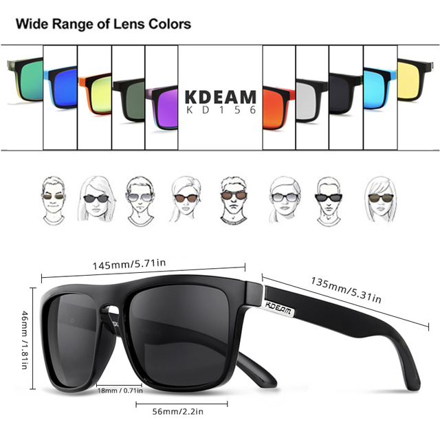 KDEAM Polarized Sunglasses Classic Design All-Fit Mirror Sunglass With Brand Box CE 3