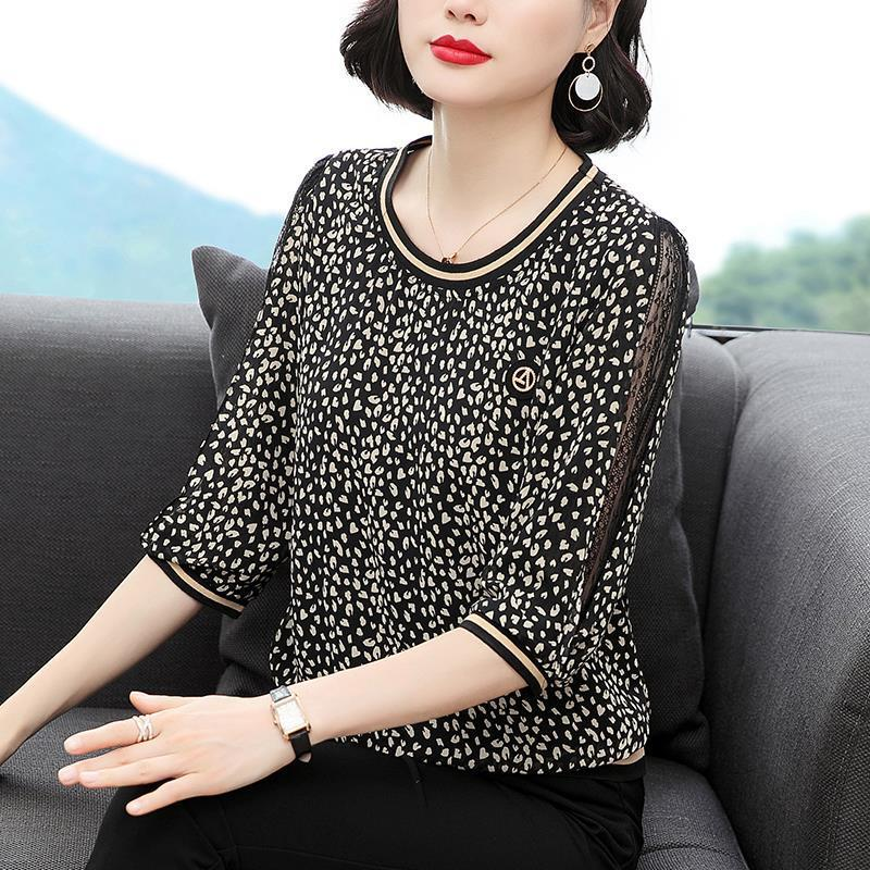 New Women Spring Summer Blouses Shirt Women Casual O-Neck Hollow Out Leopard Blouses Loose Tops High Quality K34 7