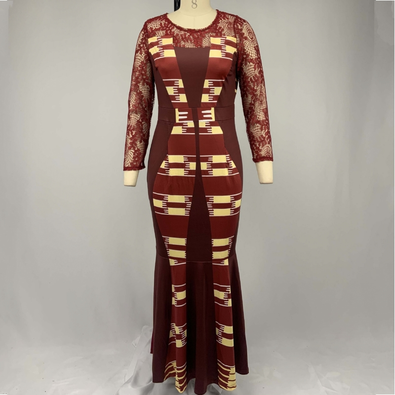S-5XL Plus Size African Long Dresses For Women 2020 African Clothes Africa Lace Dashiki Ladies Clothing Ankara Africa Dress