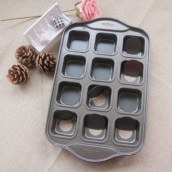 Carbon Steel 12 Cavity Baking Pan Non-stick Square Mold Cake Cupcake Muffin Bread Tray Biscuit Cookie Dish Baking Pastry Tools