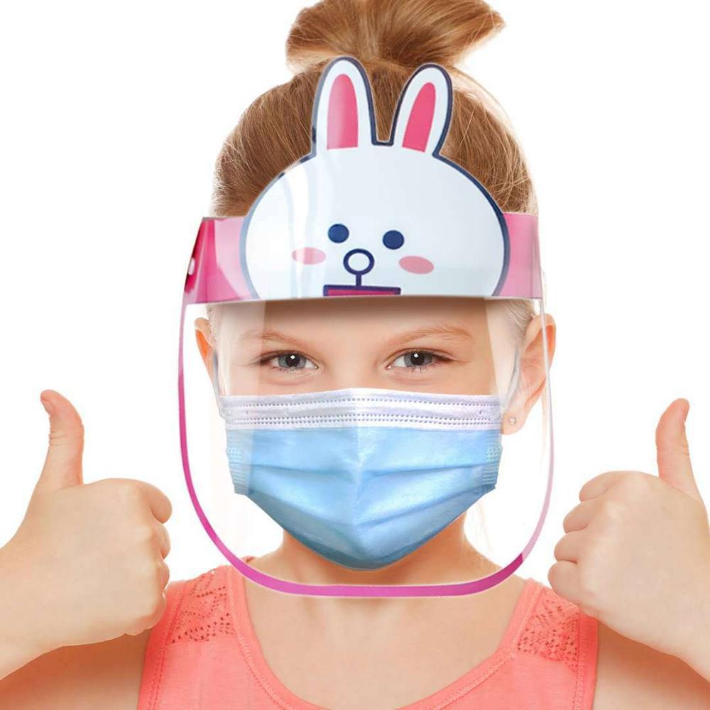 Children Kids Anti-droplets Visor Shield Bucket Hat Face Protective Cap Cute Cartoon Pig Rabbit Bear Anti-fog Sun Cap Hat