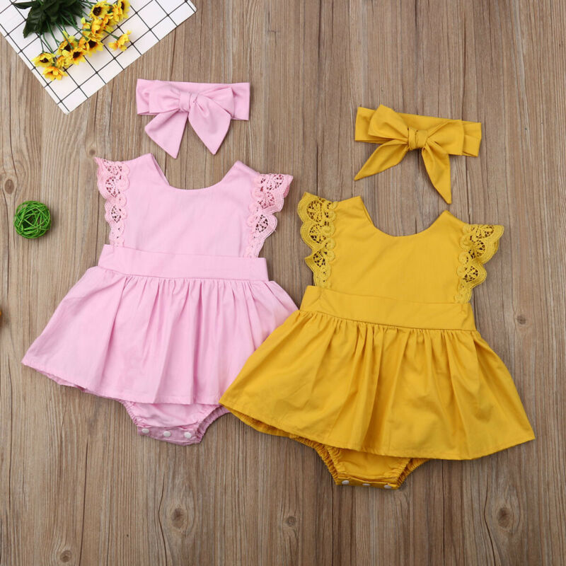 Fashion Solid Color Pink And Yellow Dress Fly-Sleeve Newborn Toddler Baby-Girl Summer Romper+Head Band Princess Style