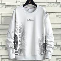 White Hoodies Men 2021 New City Urban Streetwear Loose Hip Hop Crew Oversize Sweatshirts Big Size 8XL