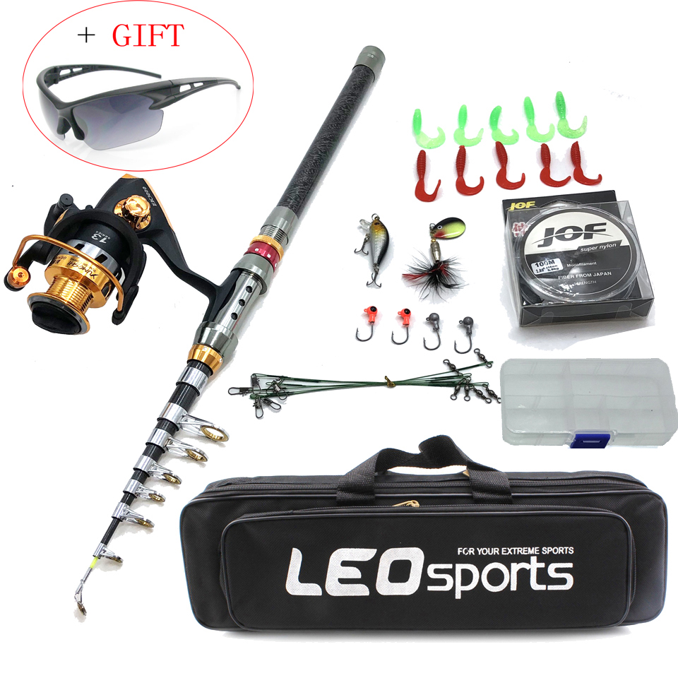 1.8-3.6m Telescopic Fishing Rod Combo With Spinning Reel Bait Lure Set In Bag Short Hard Travel Stick Boat Rock Pole 100m Line
