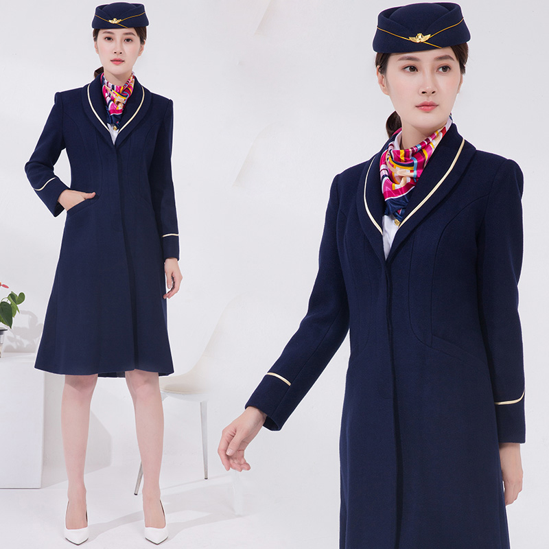 Air China Flight Attendant Coat Winter Long Uniform Knee Length Wool Coat Flight Airline Stewardess Overcoat Professional Dress
