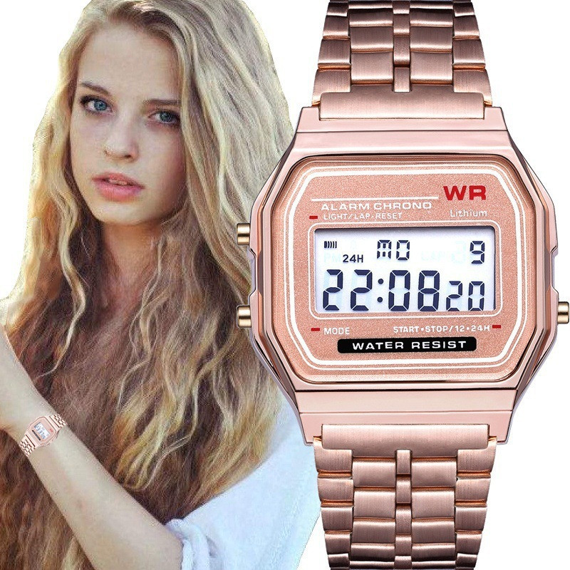 Digital Watch Golden-Wristwatch Esportivo Waterproof Women Relogio Led-Dress Relojes-De-Mujer