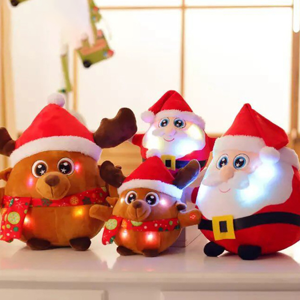 New 25CM Light Up LED Sing A Christmas Song Colorful Glowing Luminous Plush Santa Claus Stuffed Doll Toys Lovely Gifts For Kids image
