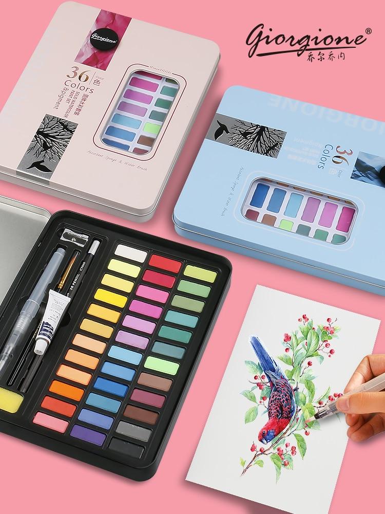 36 цветов, набор акварельных красок высокого качества твердый пигмент, портативная кисть для рисования акварелью, художественные принадлеж...