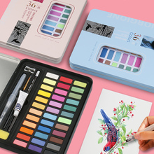 36Colors High Quality Solid Pigment Watercolor Paints Set With Water Color Portable Brush Pen For Painting Art Supplies
