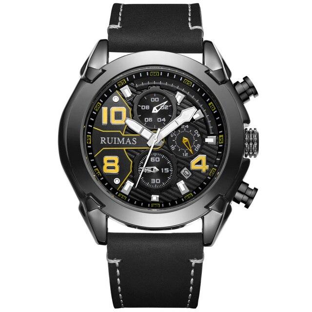 New Fashion Men Sports Watches Top Brand Luxury Military Quartz Watch Leather Chronograph Waterproof Watch Relogio Masculino | Fotoflaco.net