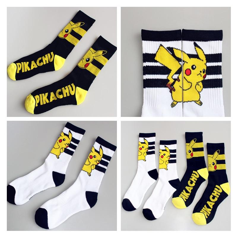 Harajuku Anime Pokemon Go Kawaii Pikachu Cosplay Props Knee-High Socks Kids Adult Cotton Stockings Hose Casual Ankle Sock