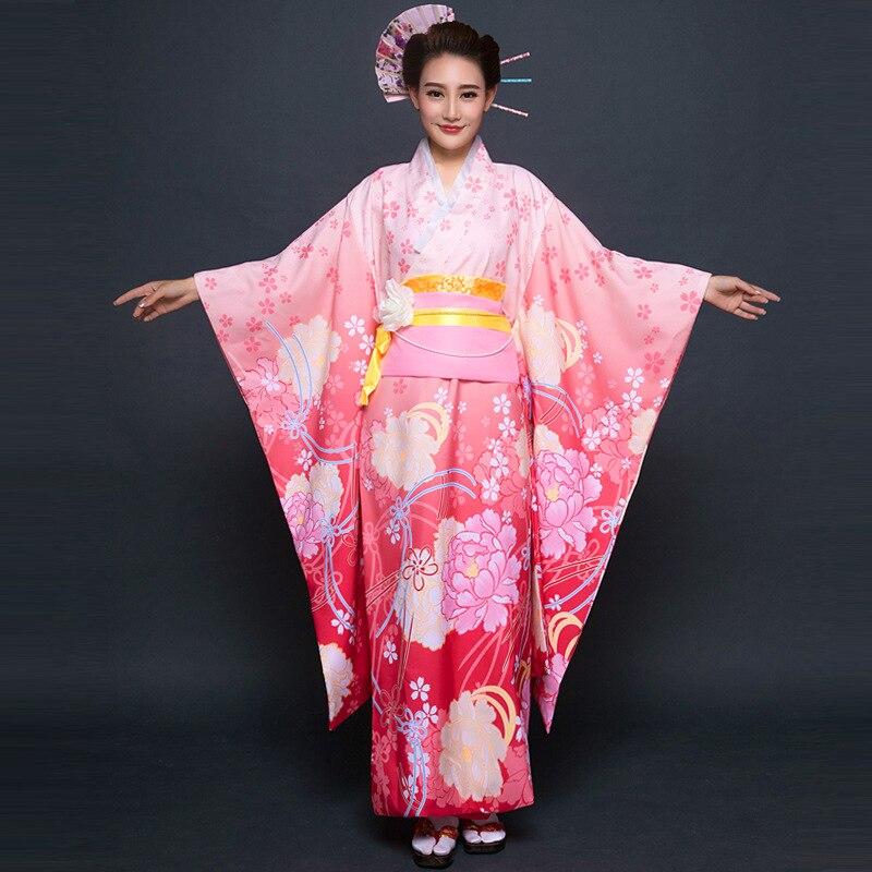 High Fashion Purple Japanese Style Women Kimono Traditional Yukata With Obi Vintage Evening Dress Flower One Size WK070