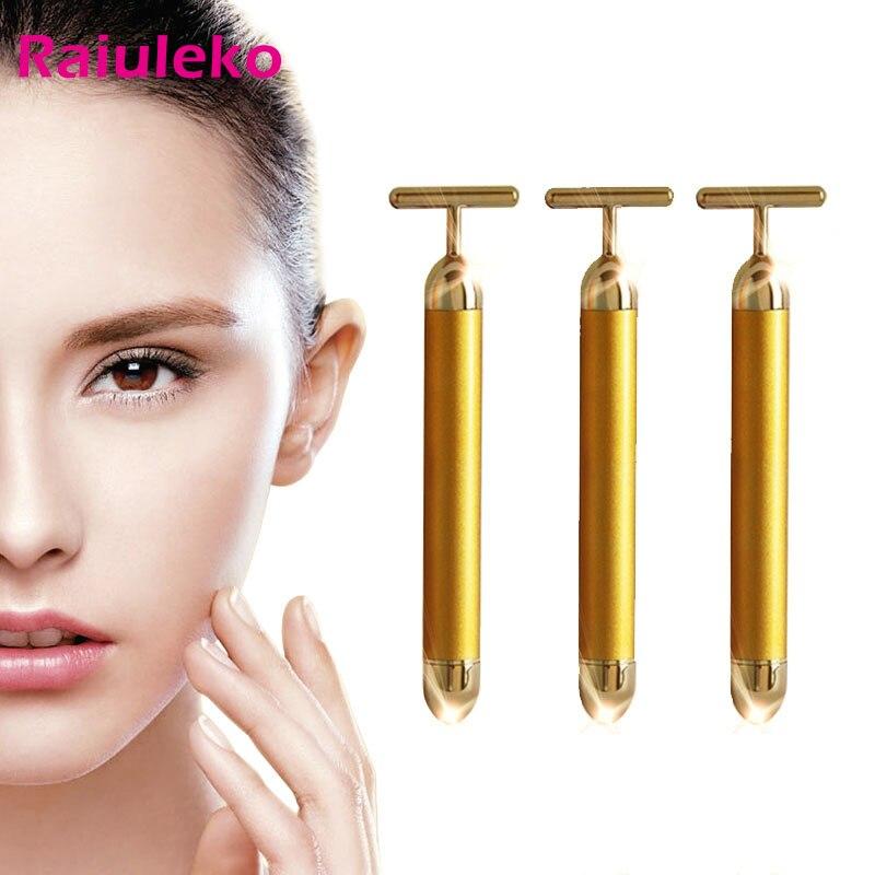 Energy Beauty Bar Slimming Face 24k Gold Vibration Facial Beauty Roller Massager Stick Lift Skin Tightening Wrinkle Bar Skin Car