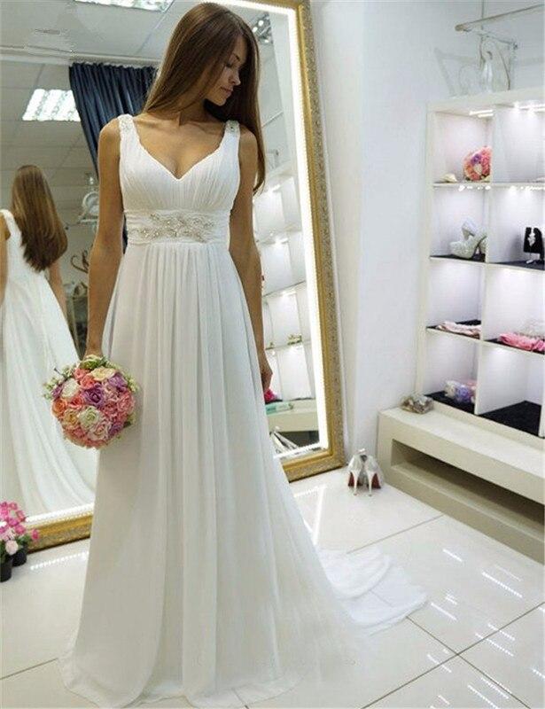Beach 2019 Wedding Dresses A-line Deep V-neck Chiffon Beaded Dubai Saudi Arabia Boho Wedding Gown Bridal Vestido De Noiva