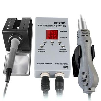 Estación de soldadura de retrabajo de aire caliente 2 en 1 portátil automático 2 en 1 con LED exhibición temporal