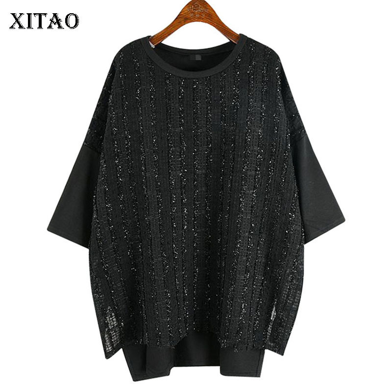 XITAO Fashion Bright Lace Splice T Shirt Women Loose Plus Size Korean Style Tee Split Short Sleeve Tshirt New Tops Women ZLL4619