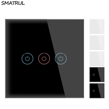 SMATRUL Smart Wall Touch Switch Light No Neutral Wire Required 1 2 3 Gang 1 Way EU UK Power 110V 220V Crystal Glass Panel Screen ievon luxury wall touch sensor switch eu uk standard light gray crystal glass touch switch power 1 2 3 gang 1 way ac 220