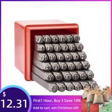 36 unids/caja de sellos de Metal de hierro Set que incluye Letra A ~ Z número 0 ~ 8 y Ampersand & negro Metal acero etiqueta colgante herramienta de estampado