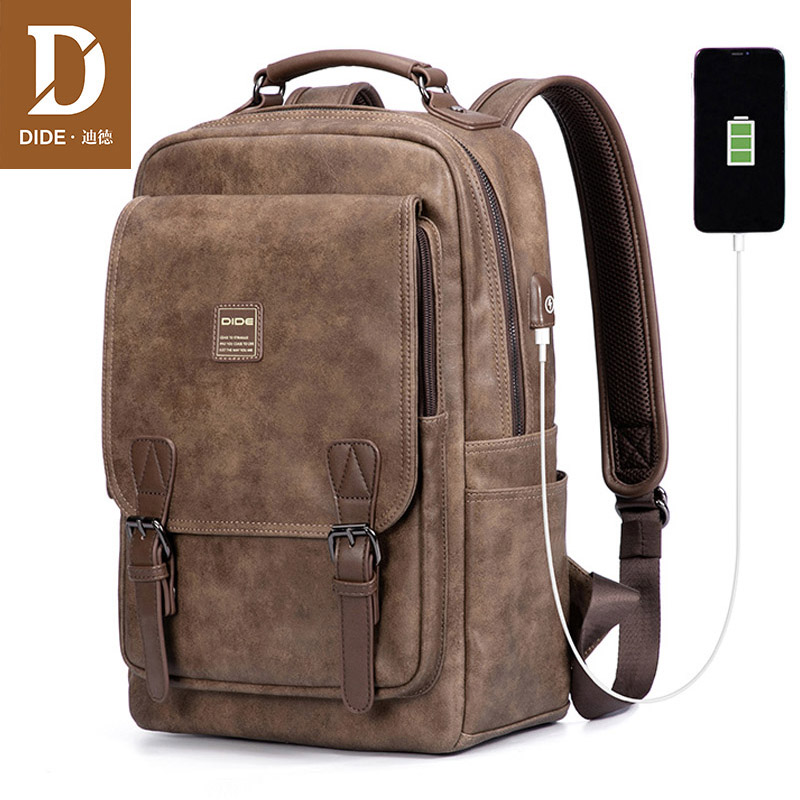 DIDE USB Charging Port Laptop Backpack Men Mochila Vintage Casual Travel Backpack Bag Male Preppy Schoolbag Waterproof 15 Inch