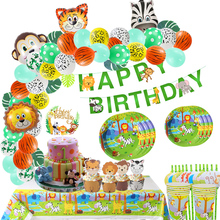 Jungle Happy Birthday Banner Safari Animal Cake Topper Wild One 1st Boy Party Decoration Flags Supply