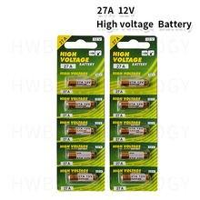 10 pçs/lote 12V 27A A27 Alarme-Bateria Alcalina Seca Células 27AE 27MN Alta Capacidade Carro Remoto Brinquedos de Controle Remoto calculadora de Campainha
