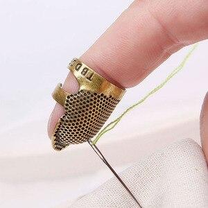 Retro de mano de coser dedal dedo Protector bordado Metal latón costura dedal herramientas de coser accesorios Freeshiping