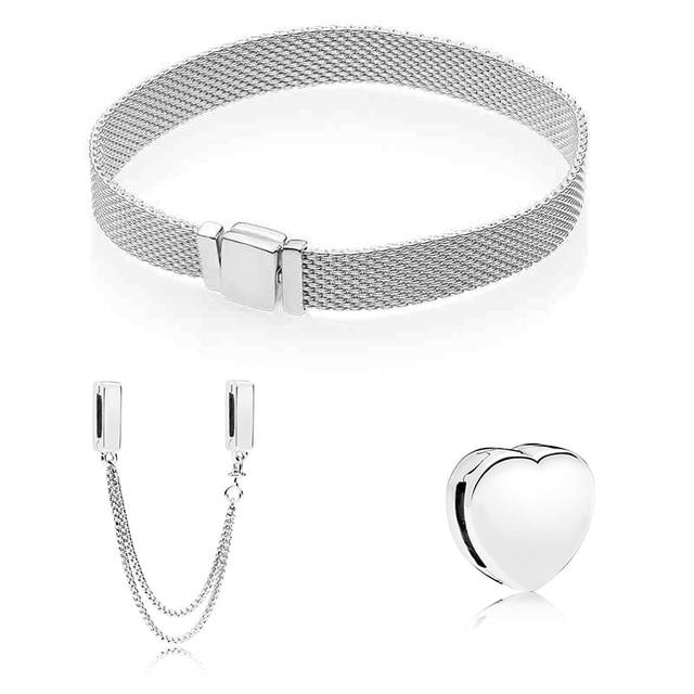 S925 כסף צבע בטיחות שרשרת לב בצורת חרוזים Fit מקורי צמיד מתנת סט לנשים חרוז קסם צמיד DIY תכשיטים